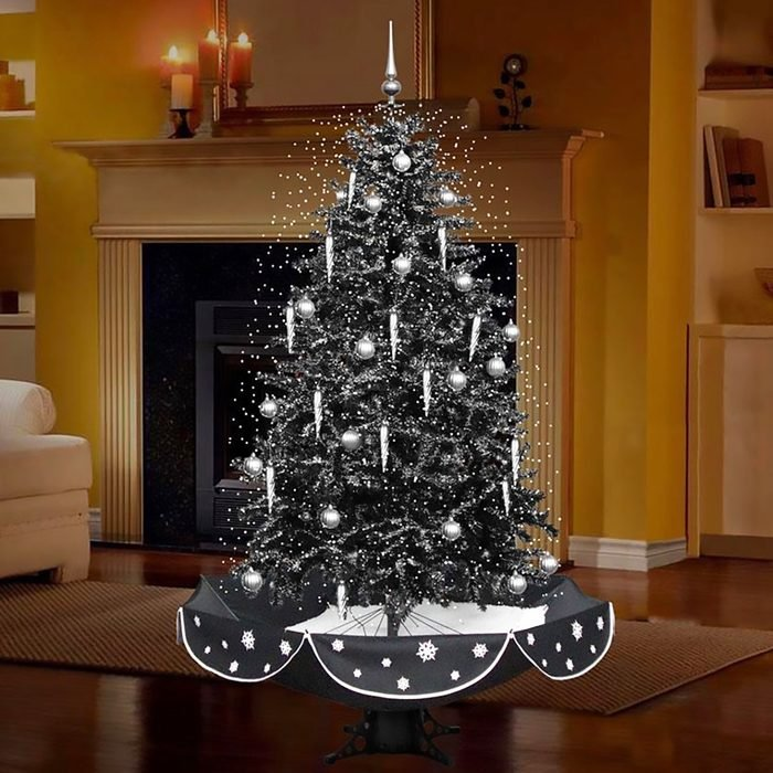 75 in. Snowing Musical Christmas Tree in Black and Silver with Snow Function