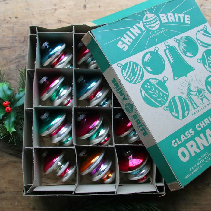 12 Vintage Shiny Brite Tiered Glass Striped Christmas Ornaments Uncle Sam Box | Green, Blue, Orange, Purple, Red | Max Eckardt & Sons Inc.