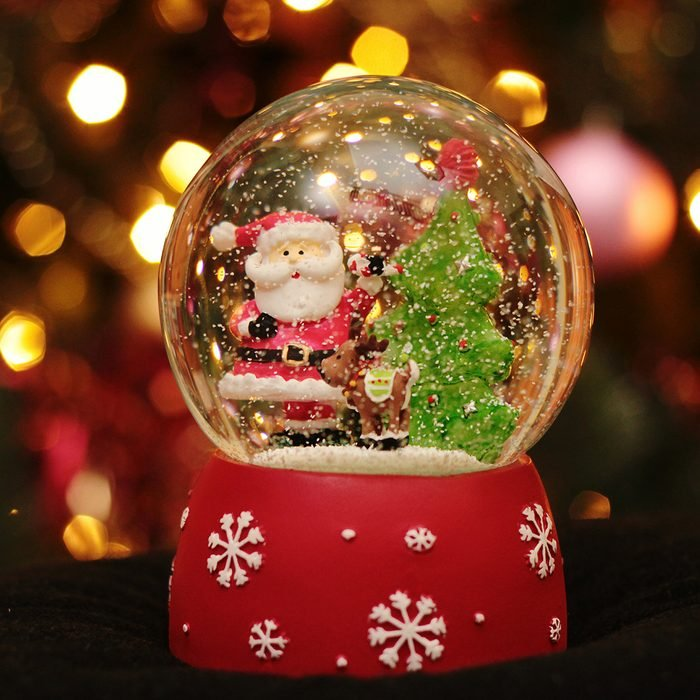 Close-Up Of Snow Globe During Christmas