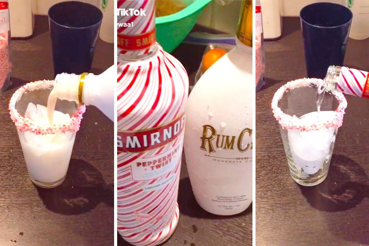 TikTok Peppermint Holiday cocktail