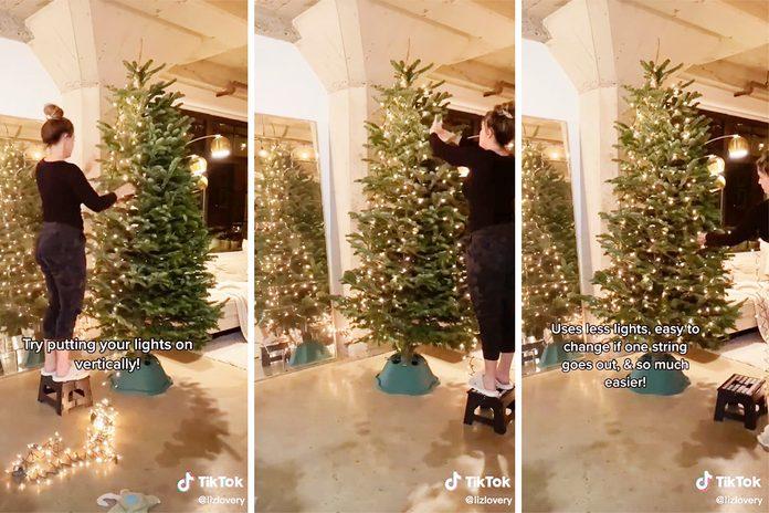 TikTok Christmas tree light hanging hack