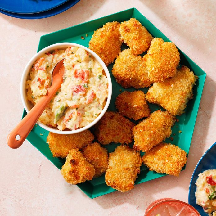 Coconut Chicken Tenders with Creamy Caribbean Salsa