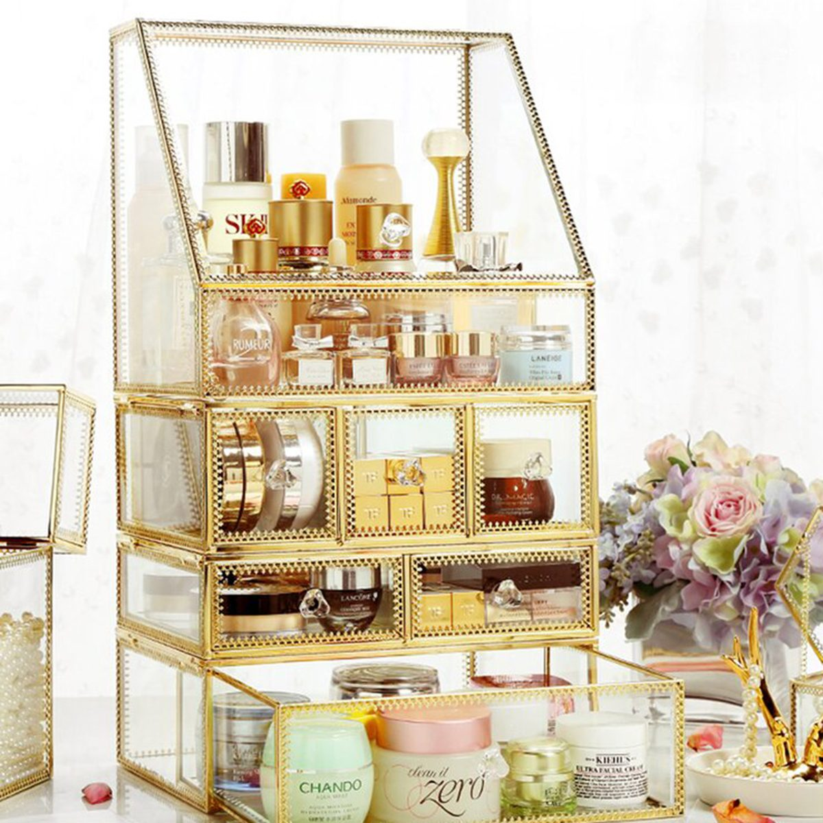 Glass Makeup Organizer