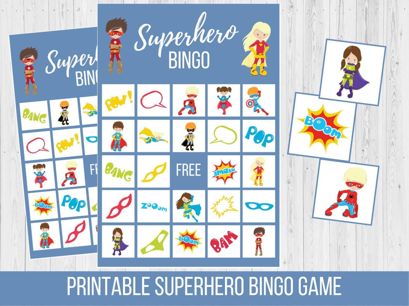 Superhero Birthday Party Kids Superhero Birthday Bingo
