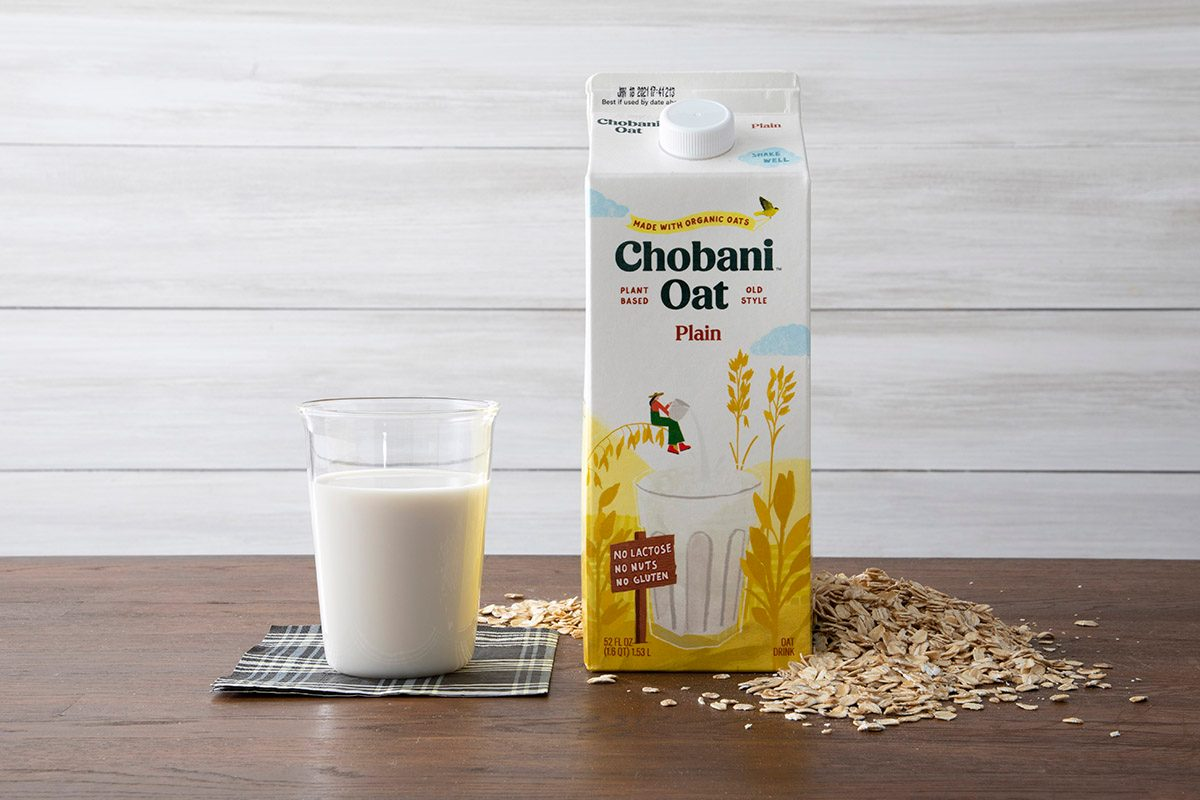 Chobani Oat Milk With Glass And Oats