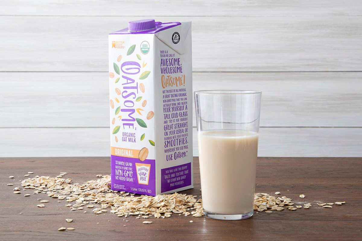 Oatsome Oat Milk With Glass And Oats