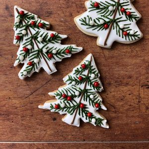 Rosemary Shortbread Christmas Tree Cookies