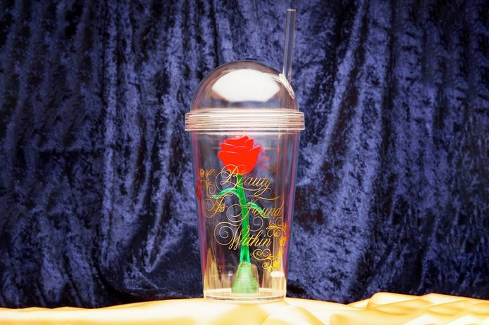 Disney Beauty and the Beast 23.5oz Plastic Rose Tumbler With Straw - Zak Designs
