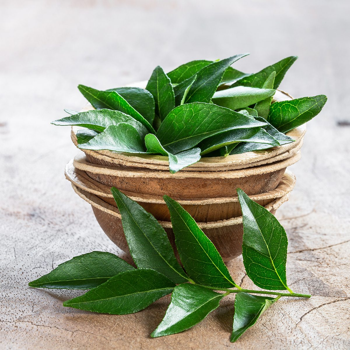 indian spices Fresh curry leaves in coconut bowl on wooden background with copyspace
