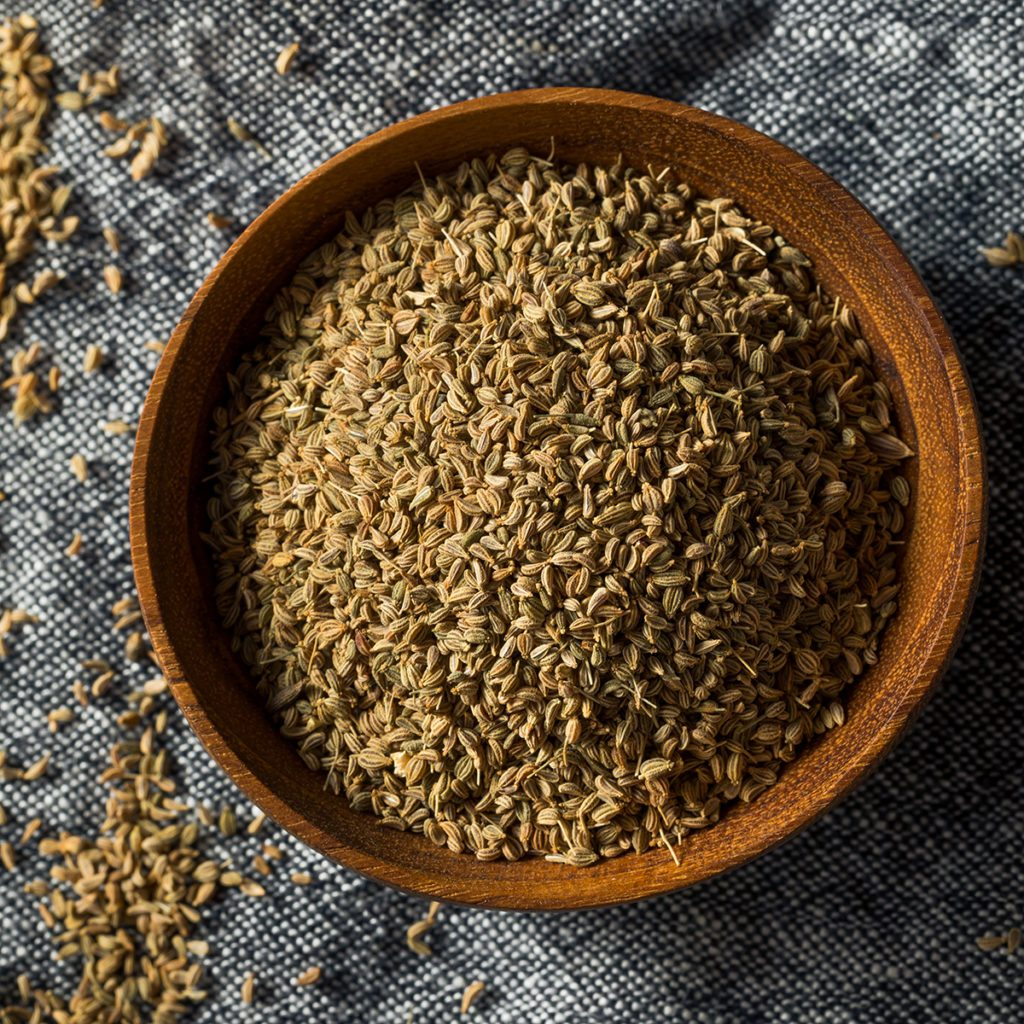 indian spices Raw Brown Organic Ajwain Seed in a Bowl