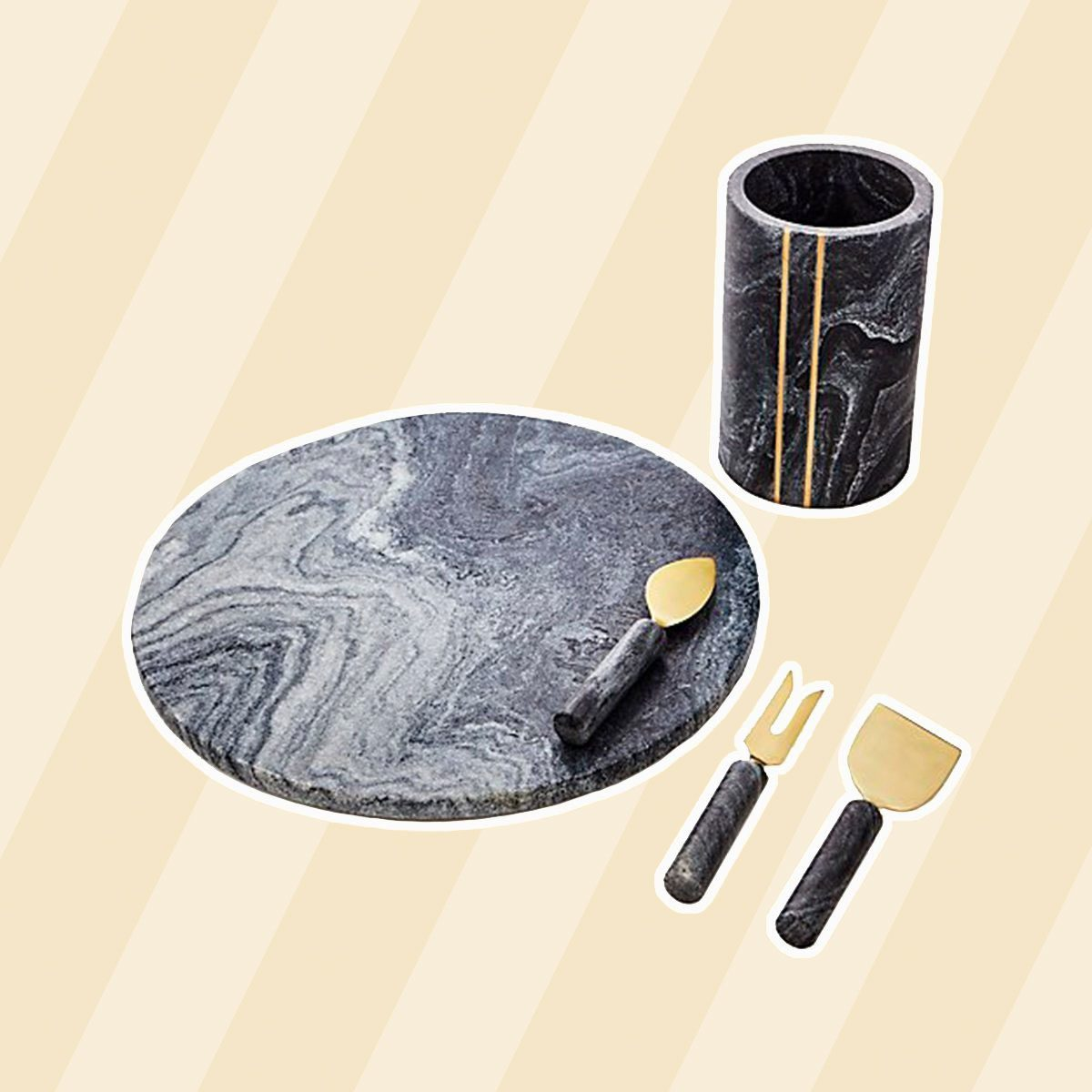 just because gifts Hayes Black Marble Board 1