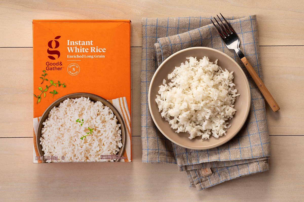 Overhead Shot Of Good & Gather White Rice In Package And On Plate