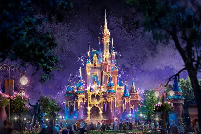 """In this artist rendering, Cinderella Castle becomes a Beacon of Magic in Magic Kingdom Park at Walt Disney World Resort in Lake Buena Vista, Fla. As part of """"The World's Most Magical Celebration"""" honoring Walt Disney World Resort's 50th anniversary beginning Oct. 1, 2021, the castle and other icons at each Walt Disney World theme park will come to life at night with their own EARidescent glow. (Disney)"""