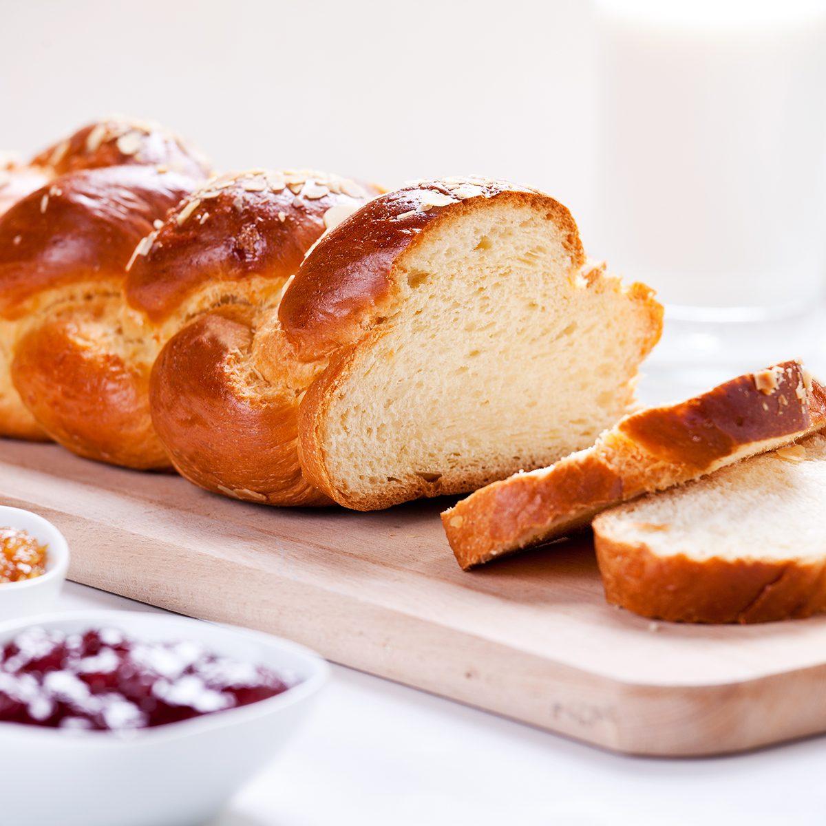 Homemade Traditonal Greek Brioche With Marmalade
