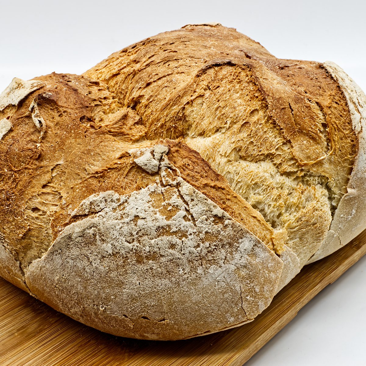Loaf of Apulian Bread. Italian Pane Pugliese, crunchy on the outside and soft on the inside, perfect to be enjoyed with cold cuts and cheeses.