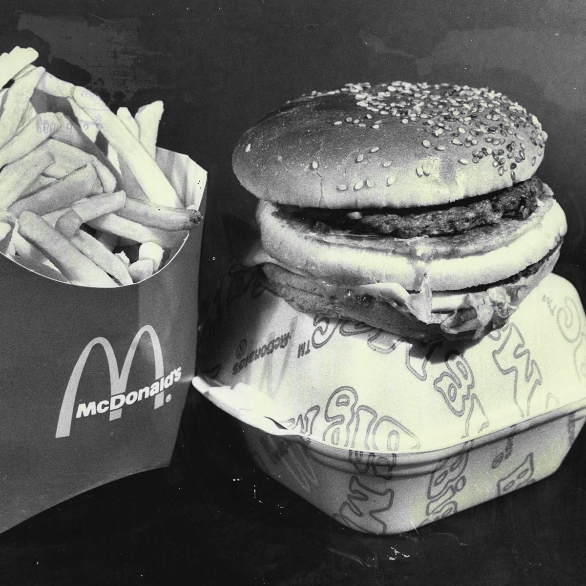 Mcdonald's Meal Pics Of Fast Food Items For Fast Food Story.mcdonalds Chips And Big Mac.one Big Mac Hamburger, One Large Serving Trench Fries. Total Weigh, 304 Grams. Cost, $1.50.good Points: Protein Energy Content Close To Ideal, High Vitamin C.bad Po
