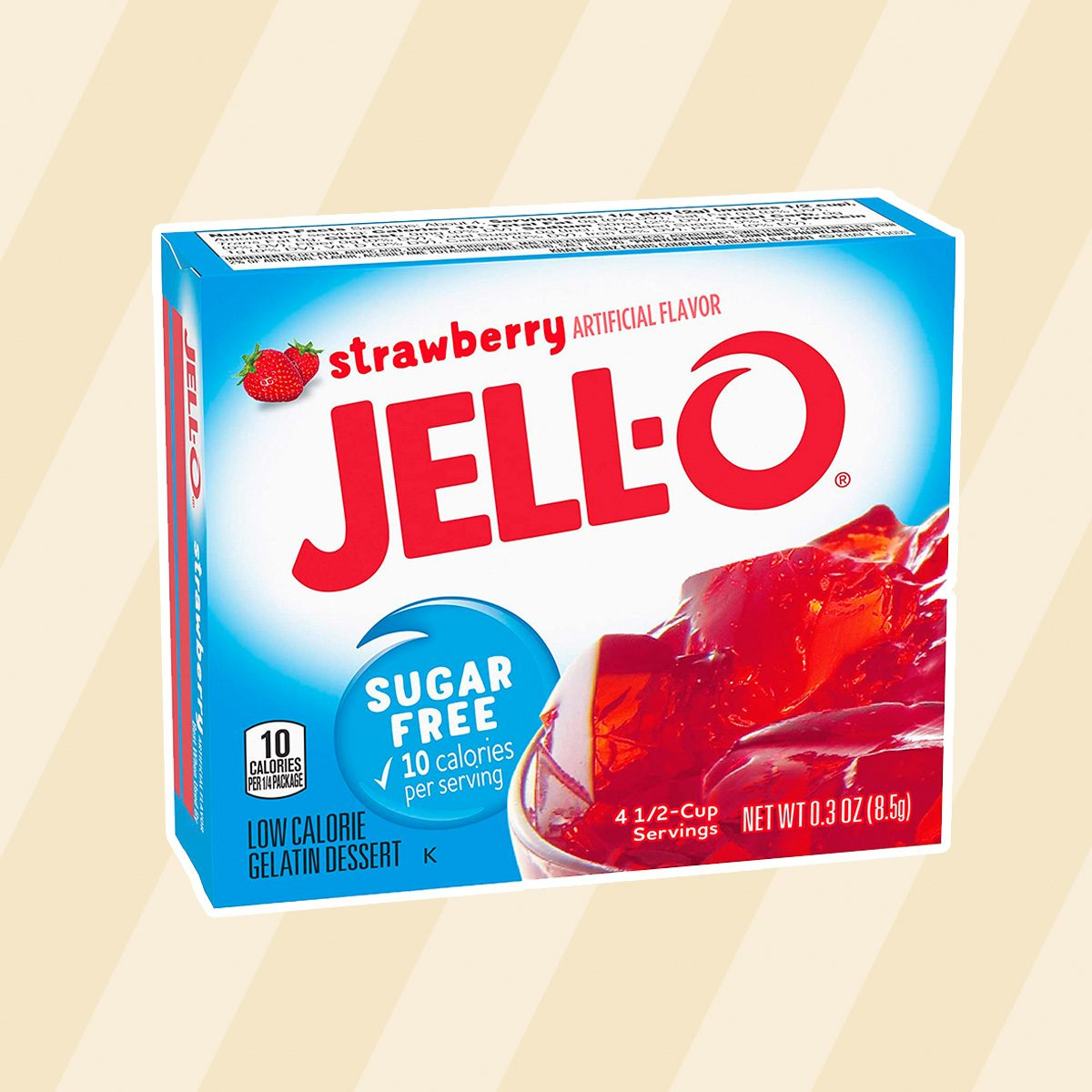 Jell-O Strawberry Sugar-Free Gelatin, 0.30 Ounce (8.5g), (Pack of 3)