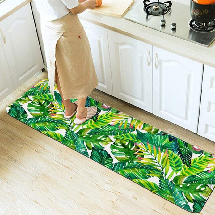tropical kitchen decor Banana Leaf Kitchen Mat