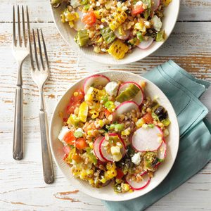 Farro Salad with Charred Shishito Peppers and Corn