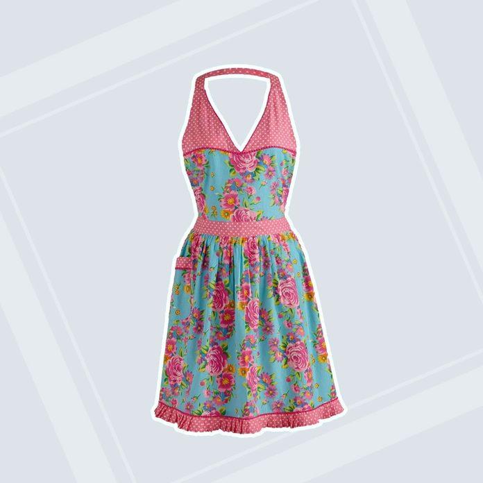Floral And Pink Polka Dot Vintage Apron