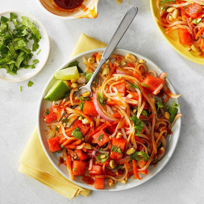 Spicy Thai-Inspired Noodle Watermelon Salad