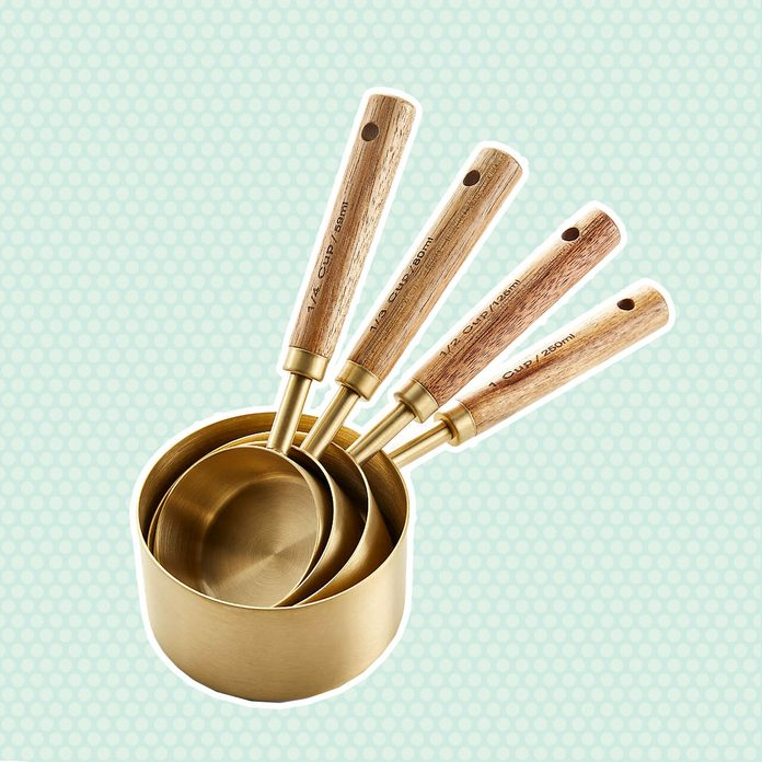 mother's day kitchen gifts Acacia Wood And Gold Measuring Cups Set Of 4