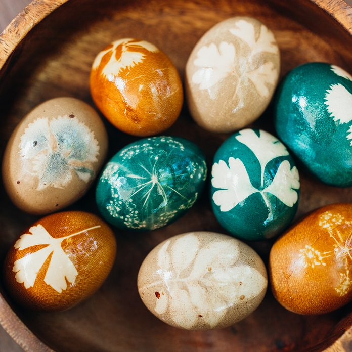 Bowl Of Naturally Dyed And Easter Eggs