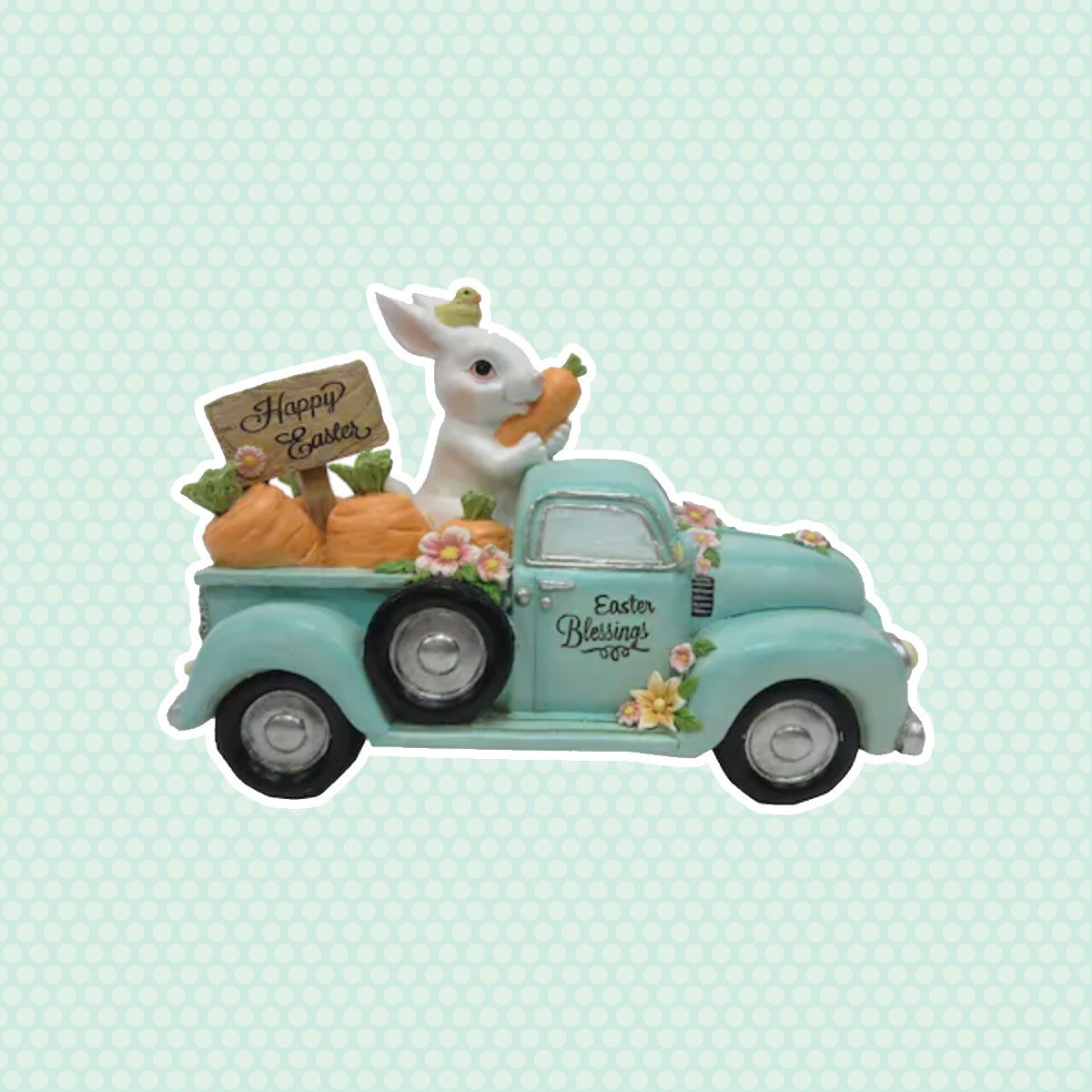 Bunny In A Truck vintage easter decorations