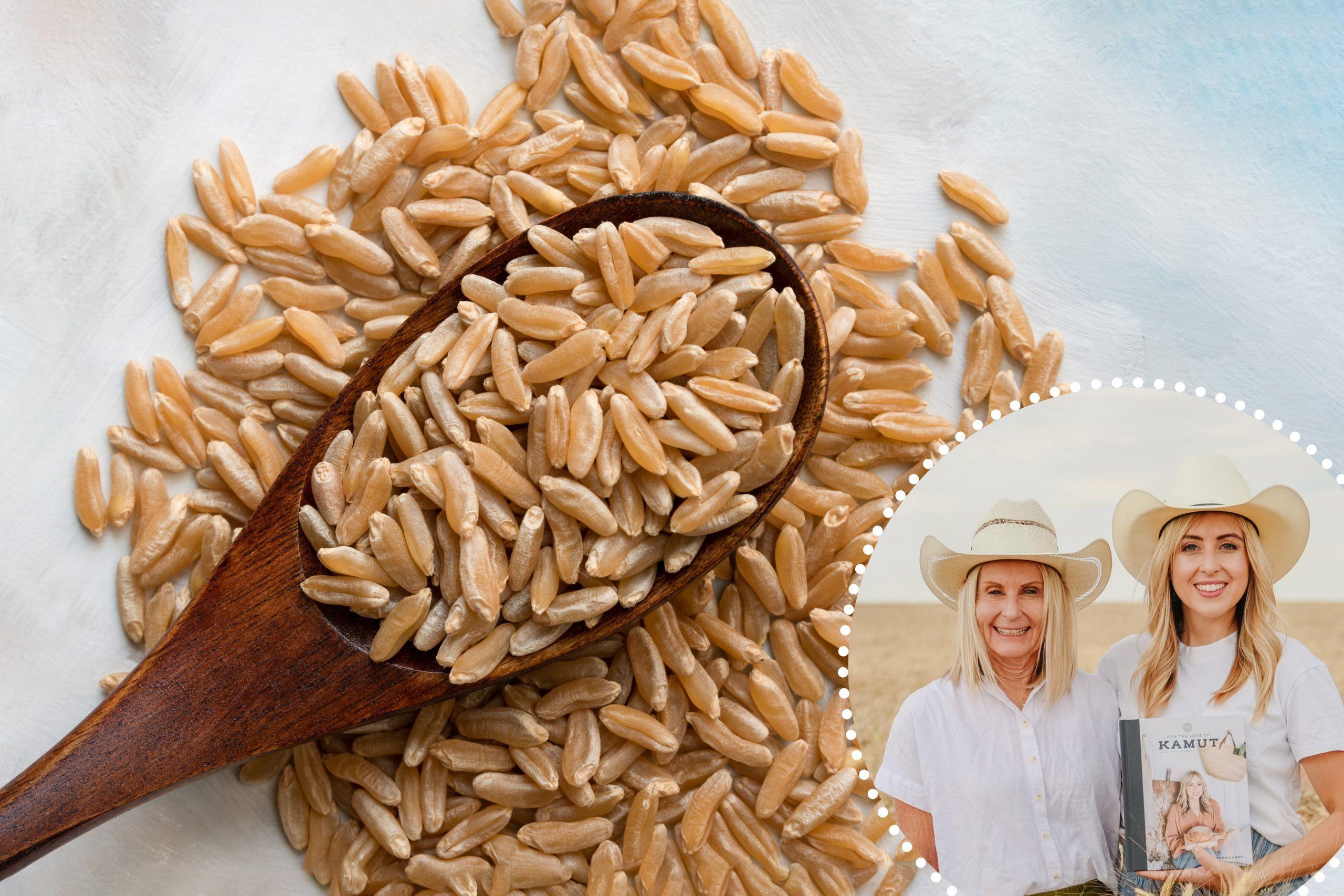 Grano Kamut crudo en una cuchara de madera