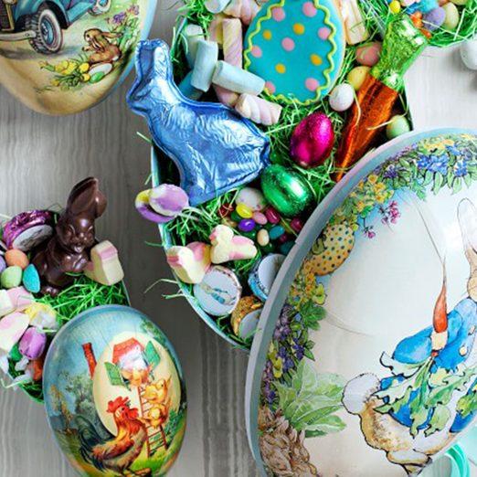 vintage easter decorations Peter Rabbit Large Mache Egg O