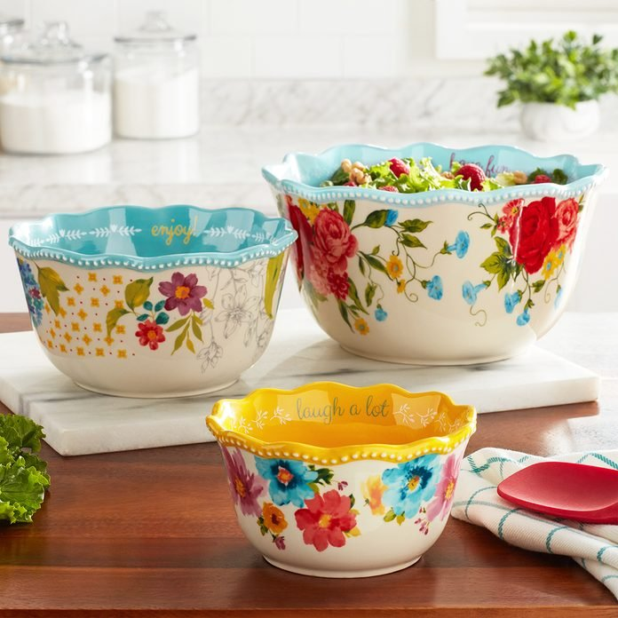The Pioneer Woman Sweet Rose Sentiment Serving Bowls, 3-Piece Set