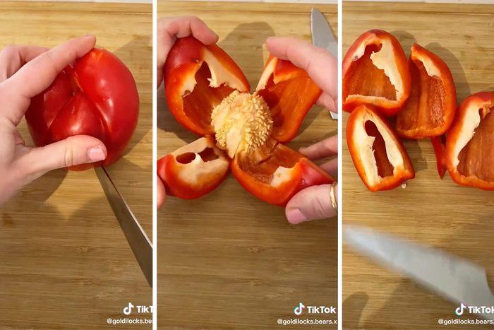 how to cut a red bell pepper tiktok