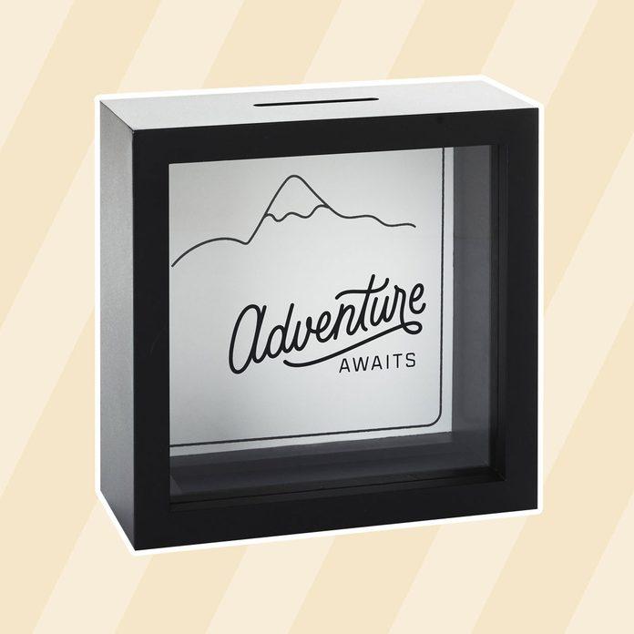 Adventure Awaits Square Wood Piggy Bank graduation gift ideas