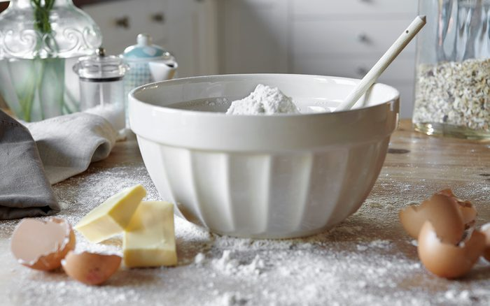 Baking substitutes Bowl Of Mixing Dough In Messy Kitchen