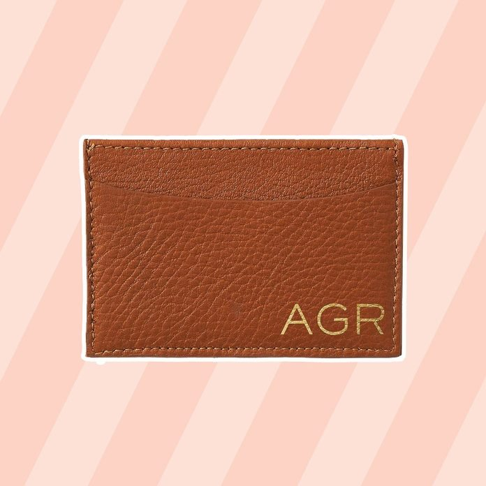 graduation gift ideas Personalized Tan Leather Card Holder