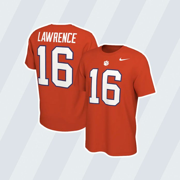 graduation gift ideas Trevor Lawrence Clemson Tigers Nike Retro Name And Number T Shirt