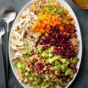 Pomegranate, Chicken and Farro Salad