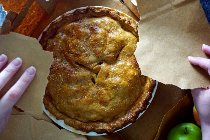 Apple Pie In A Bag revealing apple pie baked in a paper bag