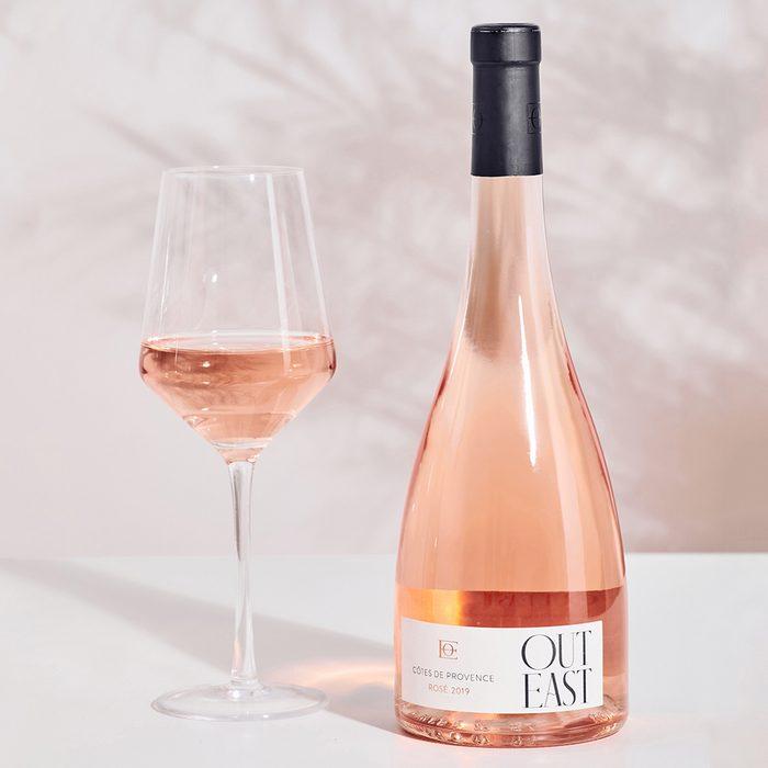 Out East Rose bridal shower wine