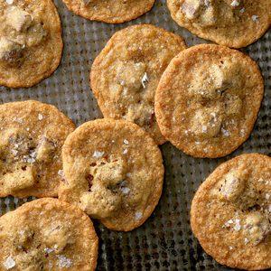 Salted Brown Sugar and Rye Chocolate Chip Cookies