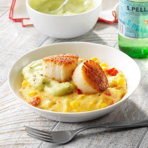 Seared Scallops with Polenta and Avocado Cream