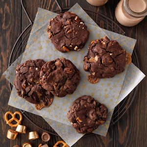 Double-Chocolate Rolo Cookies with Pretzels