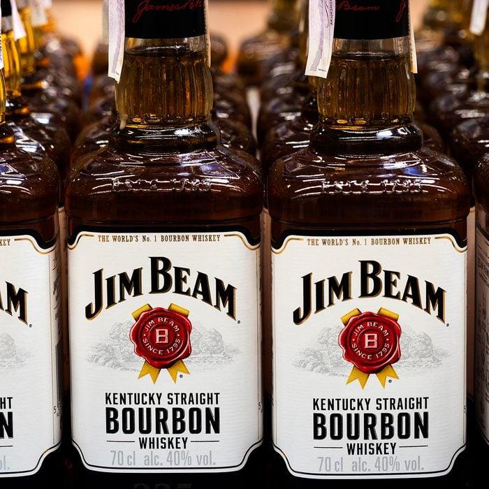 costco alcohol Jim Beam, Kentucky Straight Bourbon Whiskey Seen Displayed