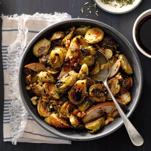 Roasted Brussels Sprouts with Pears