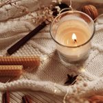Burning Candle And Christmas Decoration, Top View. Winter Cozy Home And Hygge Concept