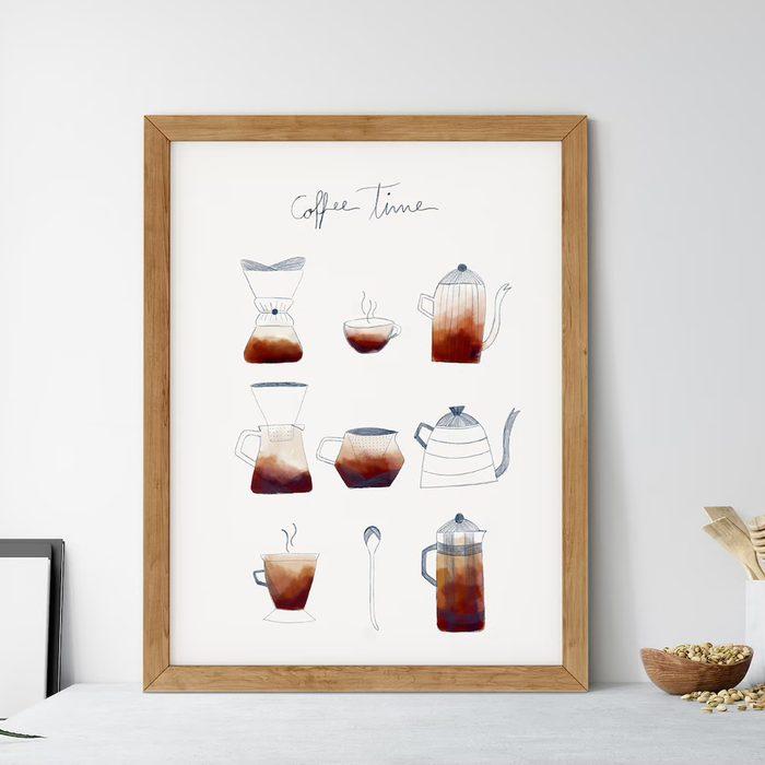 Coffee Time Poster, Coffee Kitchen Print