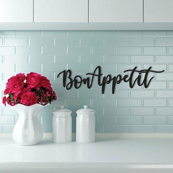 Cursive+bon+appetit+sign+wall+décor