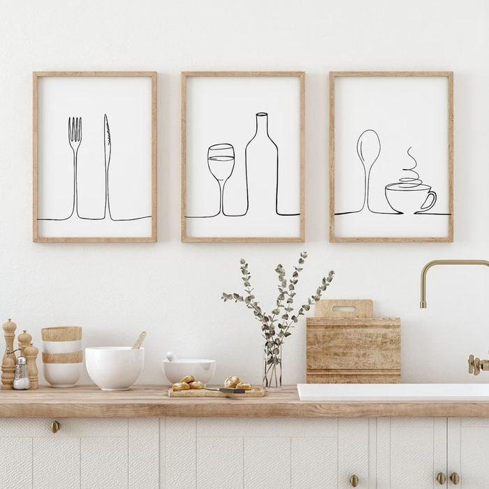 Set Of 3 Line Drawing Kitchen Prints