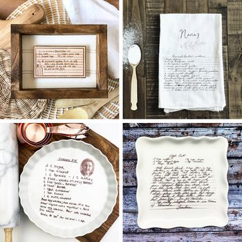 Personalized Handwritten Recipe Gifts Grid Collage
