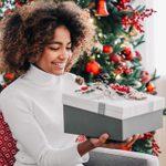 teen receiving a christmas present